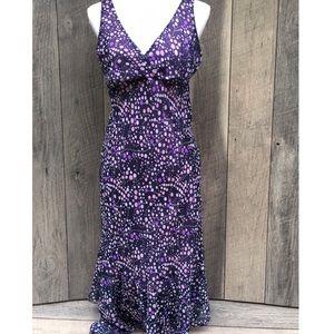 Purple Midi Empire Waist, Low Cut Summer Dress